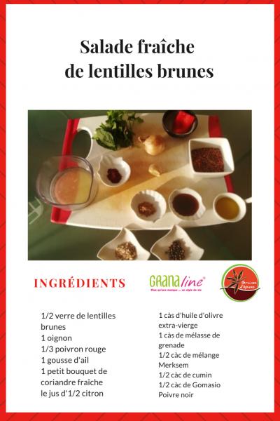 Ingredients salade de lentilles